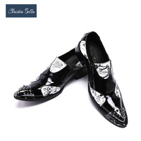 Christia Bella Designer Leather Patent Formal Dress Shoes Sexy Men Nightclub Rivet Shoes Pointed Toe High