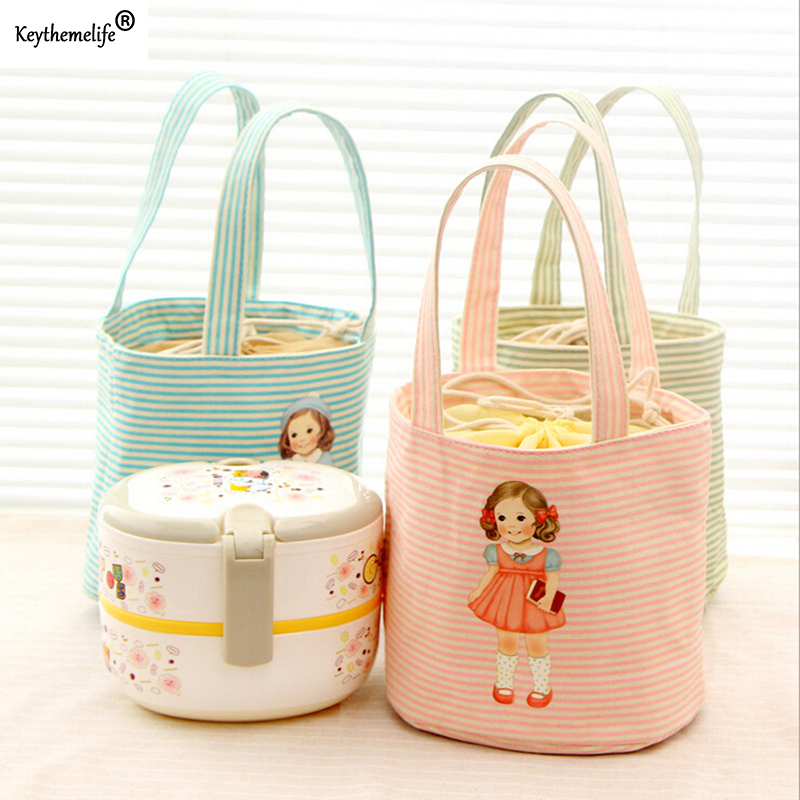 Keythemelife Cute Insulated Lunch Bag Thermal Food Picnic Lunch Bags Cooler Pouch Lunch Container Storage Bag D