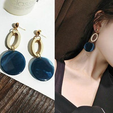 Fashion Gold Color Geometric Metal Circle Earring Women Acrylic Round Statement Drop Earrings Blue Yellow