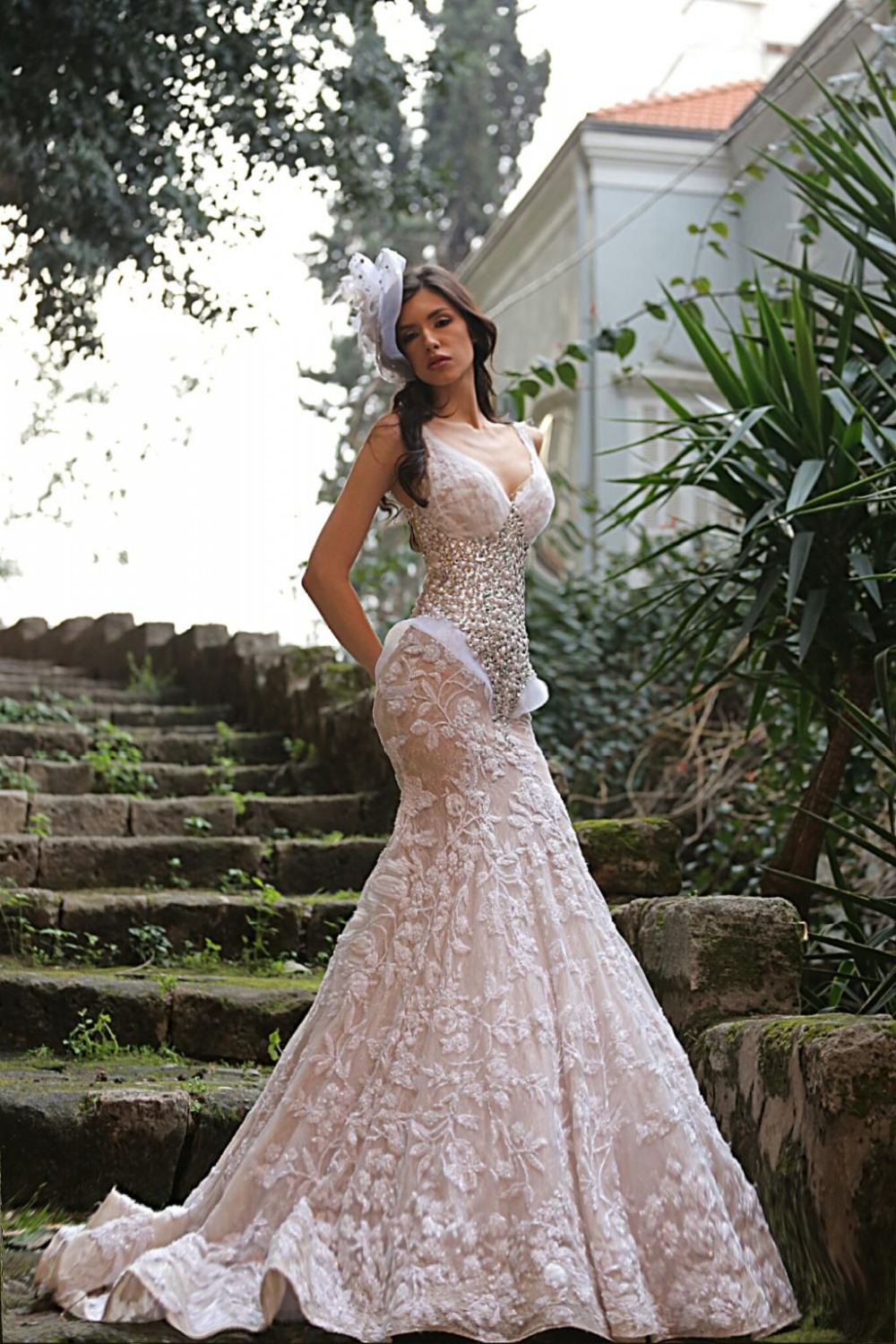 Spagehetti Straps Mermaid Wedding Dresses Nude Color Lining Custom ...