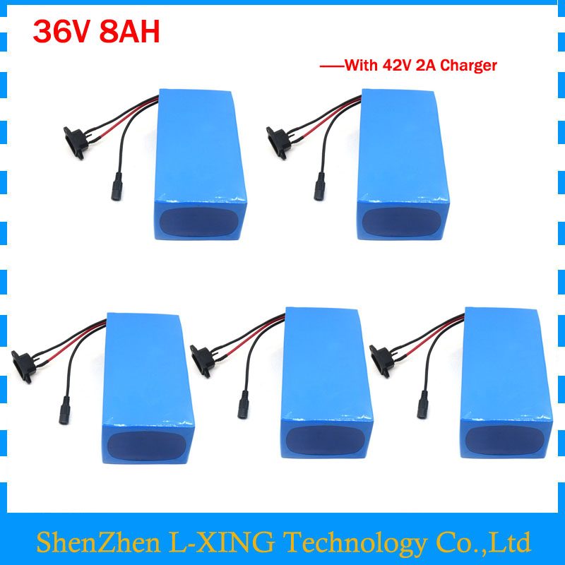 36V 8AH lithium battery 36 V battery 8AH 500W 36V Electric bike battery 2A Charger 5pcs wholesale Free customs fee liitokala 36v 6ah 500w 18650 lithium battery 36v 8ah electric bike battery with pvc case for electric bicycle 42v 2a charger