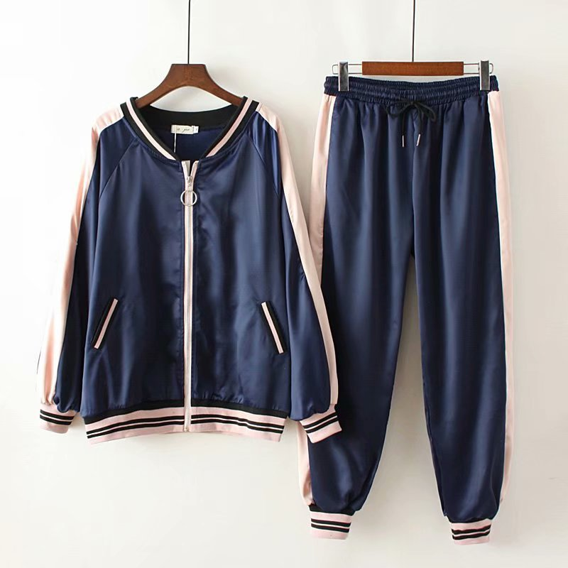 2019 spring new style is thin jacket oversize women s sports and leisure two piece suit