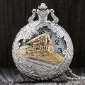 Plata de la vendimia Con Encanto Tren De Oro Tallado Puede Abrir Hueco Steampunk Cuarzo Reloj de Bolsillo Hombres Mujeres Colgante, Collar Del Reloj Regalos