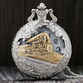 Vintage Silver Charming Gold Train Carved Openable Hollow Steampunk Quartz Pocket Watch Men Women Necklace Pendant Clock Gifts