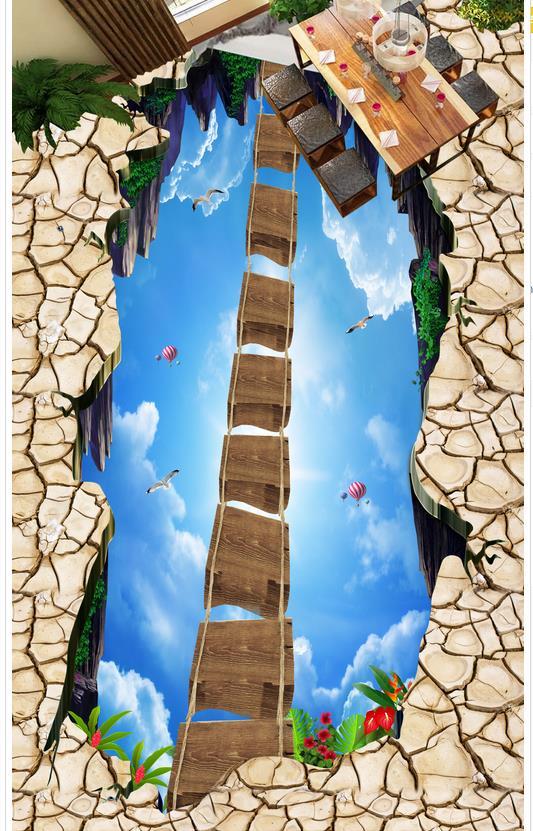 3d plancher peinture papier peint passerelle salle d'exposition ciel Suspension pont en bois 3D étage 3d pvc papier peint 3d plancher - 4