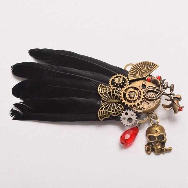 Готическая стимпанк заколка Череп с перьями 4