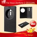 5.5 polegada inteligente janela da porta da bateria virar capa de couro para Asus Zenfone 2 capa para Asus Zenfone 2 ZE551ML ZE550ML HOT7