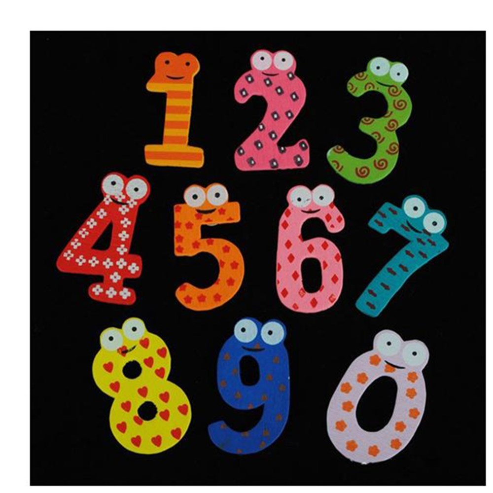 10pcs/set Wooden Kid Baby Education Learning Toy Gift 0 to 10 Number Cute Fridge Magnet for wholesale Drop Shipping