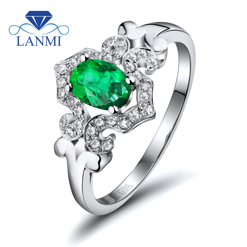 Oval 4x6mm Genuine Natural Emerald Diamond In 18kt White Gold Engagement  Ring, 750 White Gold