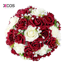 Buque De Noiva Romantic Holding Burgundy Flowers Rose with Pearls Birdal Bouquet Wedding Bouquets for Bridesmaids Flower Girl
