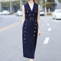 Vintage Sleeveless Dress For Women Double Breasted Long Clothing Female Belt Pencil Dress Lady Notched Shirt