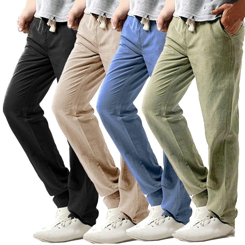 2019 Summer Men's Casual Slim Strandhosen Linen Hose Pant Solid Trousers 3XL Joggers Streetwear Pantalones Hombre