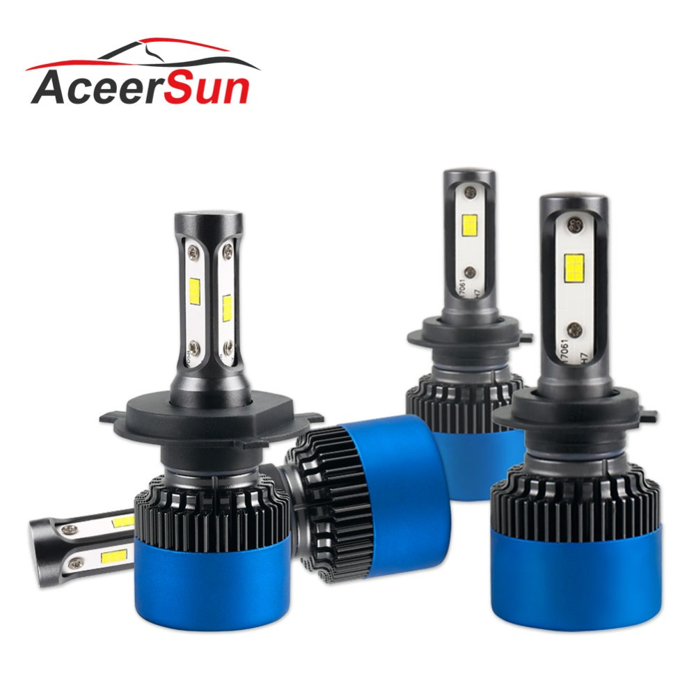 Aceersun H4 LED H7 Car Headlight Bulbs H11 9005 9006 HB4 H1 H3 HB3 Fog Bulbs 80W 12000LM High Low Beam Automobiles Lamp S2 Plus
