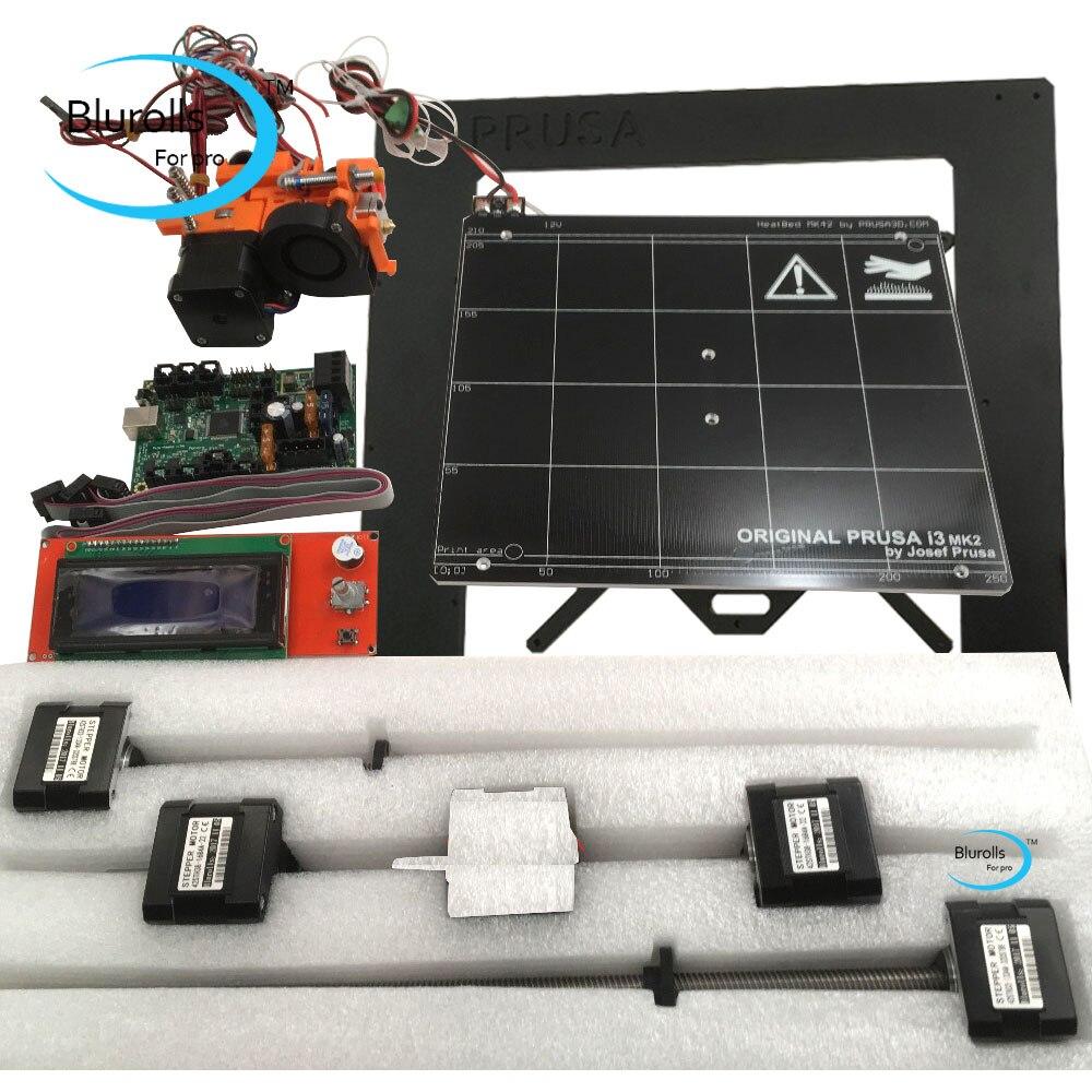 Prusa i3 mk2 3d imprimante kit de bricolage avec cadre en métal, Mini-Rambo 1.3a board 2004 LCD, lit chauffant en aluminium, extrémité chaude, moteurs pas à pas
