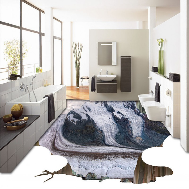 Free Shipping high mountains flooring wallpaper living room bathroom waterproof self-adhesive floor mural free shipping 3d living room dining room kitchen bathroom foyer waterproof self adhesive fish flooring wallpaper mural fh 023