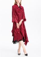 FREE SHIPPING miyake women's pleated Dust coat asymmetric length style outerwear single button Dust coat IN STOCK