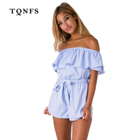TQNFS 2017 Sexy Ruffles Off Shoulder Striped Women Summer Short Jumpsuits Beach Woman Short Bodysuits Overall