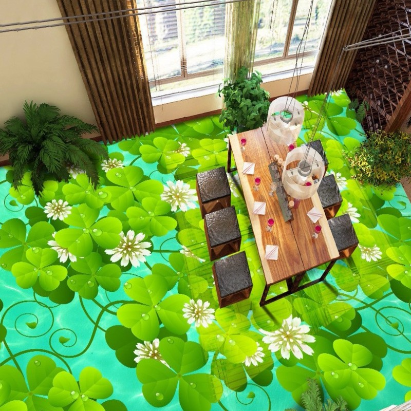 цены Free Shipping Water plants 3D floor tiles painting waterproof wear non-slip bedroom living room lobby flooring wallpaper mural