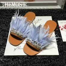 ARQA Womens Luxury Real Fur Feather Slide Sandals Rhinestone Embellished Slip on Beach Shoes