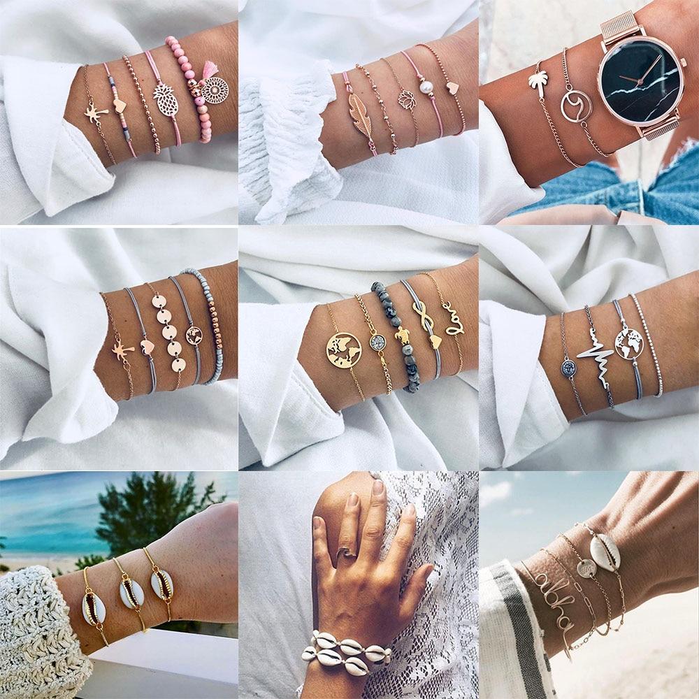 IPARAM Bohemian Shell Map Turtle Bracelet Set 2018 Retro Geometric Statement Female Glamour Fashion Jewelry Drop Shipping