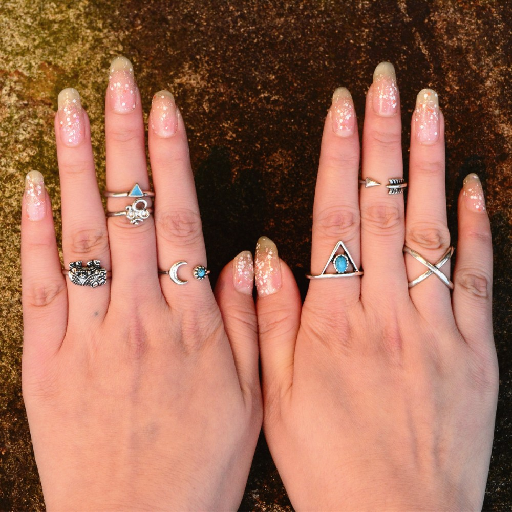 Fashion Women Jewelry Accessories 7PCS Ring Set Elephant Triangle ...