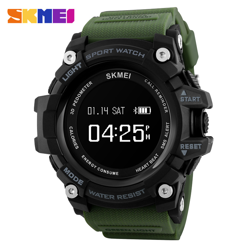 SKMEI Men Smart Watch Heart Rate Monitor Bluetooth Watch Pedometer Calories Chronograph Top Brand Luxury Digital Sports Watches ezon pedometer optical sensor heart rate monitor alarm calories men sports watches digital watch running climbing wristwatch