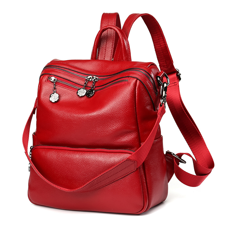 LOEIL Backpack female leather Korean version of the simple wild travel women's backpack tide fashion bags