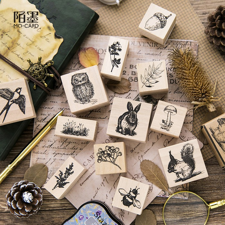 1pc New Forest Stylish Vintage Cute Animal Plants Wooden Rubber Stamp For Scrapbooking Painting Cards Decor DIY Craft
