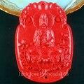 Free Shipping Women Fashion Jewelry  47x68x10mm Taiwan Red Peking Cinnabar Guan Yin Pendant bead C3961