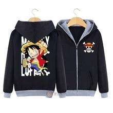 2017 anime-einteiler druck Hoodie schwarz cartoon Affe D Luffy baumwolle winter Mann Reißverschluss Sweatshirt 1 stück HU549