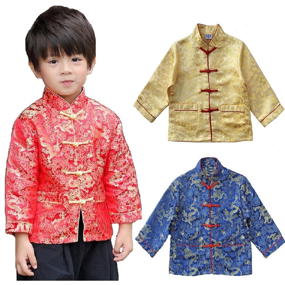 Chinesischen Stil Kinder Jacke Tang-anzug Frühling Festival Strickjacke Für Baby Jungen Mantel Outfits Kid Outwear Urlaub Kostüme Top 4 -16