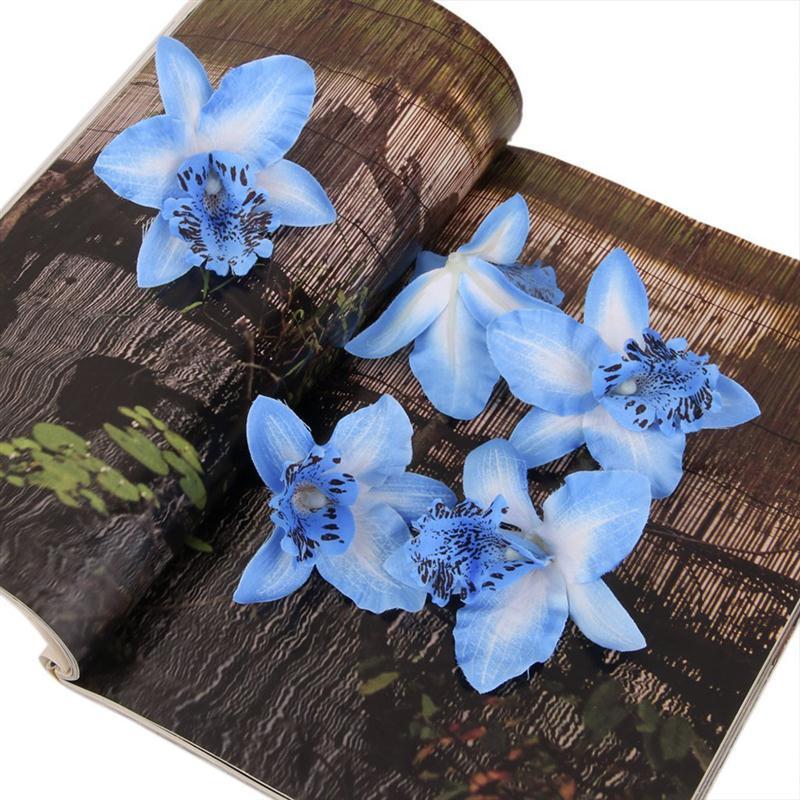 20pcs 8cm Artificial Silk Orchid Dendrobium Flower Heads Wedding Decor Red