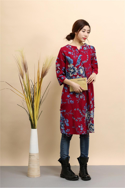 8e96123e4f652 Printemps Automne Vintage robe pour femme Trois Manches Trimestre Robes  Coton robe de lin Élégant Femelle décontracté Style robe ample