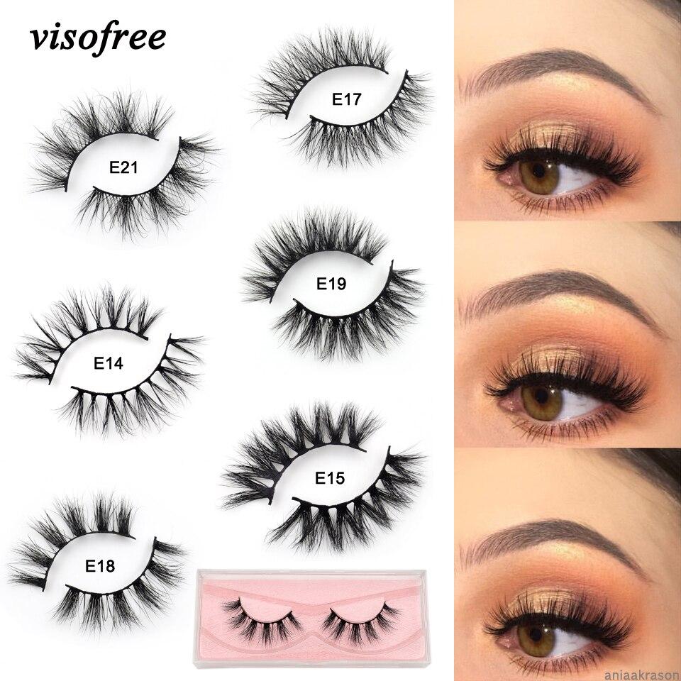 Visofree Lashes Mink Eyelashes Natural Crisscross Cruelty Free 3D Mink Lashes Makeup Handmade Eyelashes With Pink Eyelash Boxes