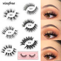 Visofree Lashes Mink Eyelashes Natural Crisscross Cruelty free 3D Mink Lashes Makeup Handmade Eyelashes With Pink Eyelash Boxes