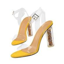 Sandales à talons hauts pour femmes, sandales dété classiques de grande taille 43 de 11cm, jaunes et bleues, transparentes, escarpins dété, collection 2020