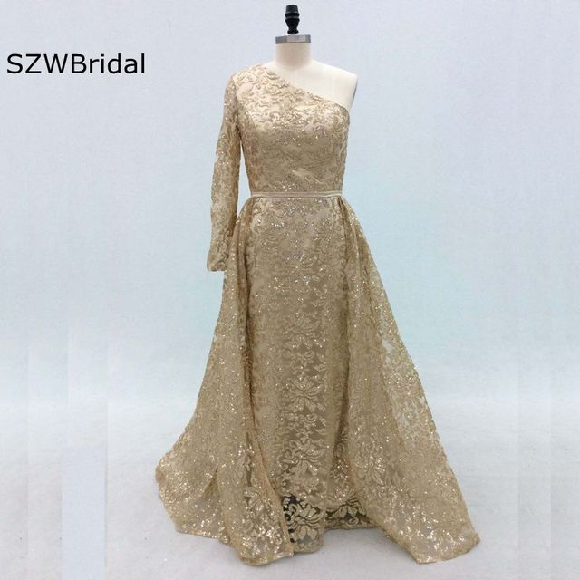One Shoulder Sequin Gown