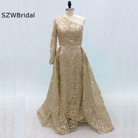 New Arrival Formal dress One shoulder Sequin Lace Evening dress Long sleeve abiye Vestido de festa vestido de festa longo