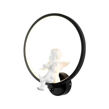 נורדי פנס יושב חדר שינה יצירתי מנורת קיר פשוט מודרני ילדה מנורת אור נסיכת ילדי סלון מתקן