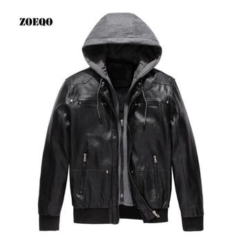 ZOEQO Motorcycle Leather Jacket MEN PU Leather Jacket  HOOD Detachable  Jacket Men Biker Jacket jaqueta de couro masculina