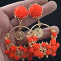 New Baroque Red Rose Flower Earrings Cocktail Party Wedding Crystal Earrings For Women jewelry 401