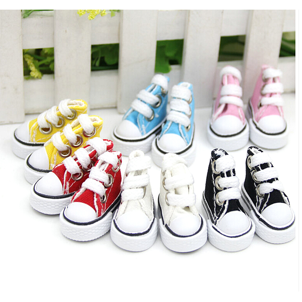 1 Pair Canvas Shoes For BJD Doll Fashion Mini Toy Assorted Shoes Sneaker for Barbie Doll Shoes for Russian Doll Accessories 5cm uncle 1 3 1 4 1 6 doll accessories for bjd sd bjd eyelashes for doll 1 pair tx 03