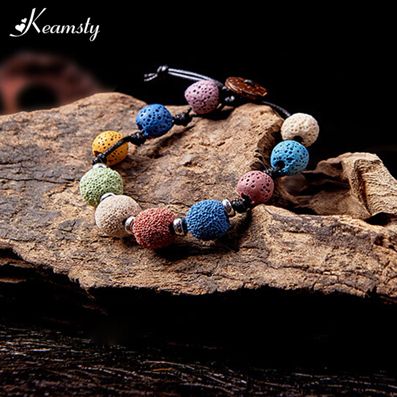 Keamsty Women Pulseras Jewelry Natural Lava Stone Rope Chain Bracelet New Design Perfume Diffuser for Femme Gift Black Friday