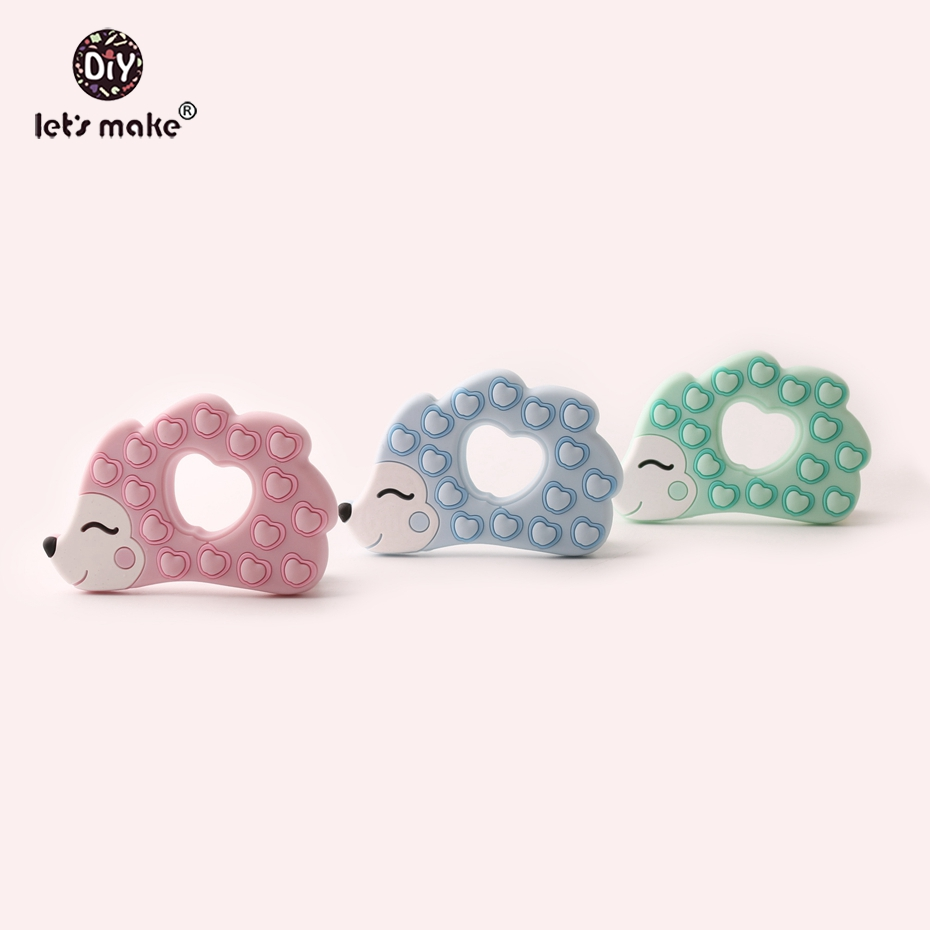 Let s Make Silicone Hedgehog Shaped Teether 10pc BPA Free Silicone Teething Jewelry Making Beads Nursing