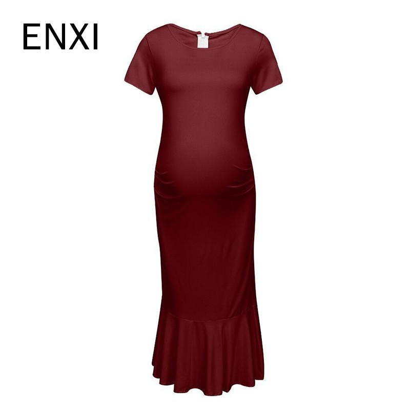 ENXI Baby Shower Ruffles Maternity Bodycon Ruched Sides Mermaid Pregnancy Dress Mama Clothes Pregnant Dresses Plus Size