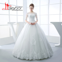 Vestidos Ball Gown Wedding Dresses 2017 Elegant Transparent Neck Half Sleeve Beaded Applique Lace Bridal Dress