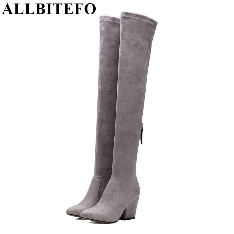 ALLBITEFO new spring autumn pointed toe thick heel women's boots Fashion over the knee high boots botas femininas femme bottes 2017 spring autumn newest design elegant brown suede concise pointed toe high heeled over the knee boots