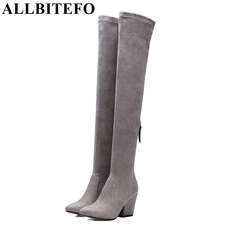 Allbitefo/Новые весна-осень с острым носком на толстом каблуке женские ботинки модные выше колена высокие сапоги Botas Femininas Femme Bottes