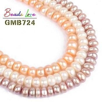 9812d6349c98 8-9mm al por mayor oblato cuentas de perlas de agua dulce sueltas para  hacer joyas cuentas de perlas naturales Diy collar pulsera joyería 15
