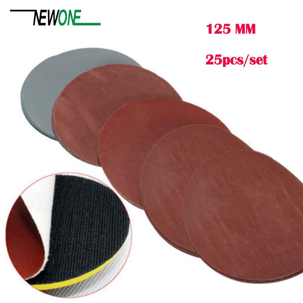 25 Pcs/set 5 Inch Round Sandpaper Abrasive Sand Sheets Grit 800/1000/1500/2000/3000 Hook&loop Sanding Disc For Sander Grits